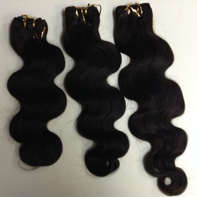 "3pcs Bundle 16"", 18"", 20"" Indian Human Hair Wefts Wavy"