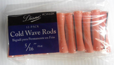 "Diane 5/16"" Cold Wave Rods Curlers Hair Perm #CW6SH 12-Pack - Pink - Short"