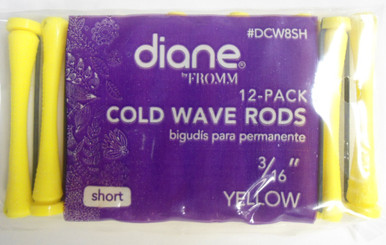 "Diane 3/16"" Cold Wave Rods Curlers Hair Perm #DCW8SH 12-Pack Yellow, Short"