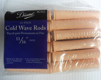 "Diane 11/16"" Cold Wave Rods Curlers Hair Perm #CW2 12-Pack - Sand"