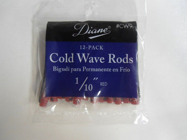 """Diane 1/10"""" Cold Wave Rods Curlers Hair Perm #CW9 12-Pack - Red"""