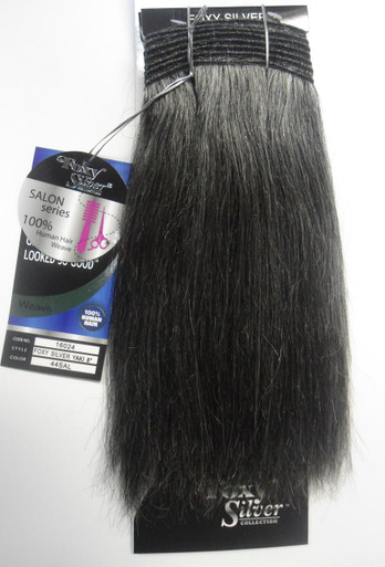 "Foxy Silver 8"" Salt n' Pepper Human Hair Straight Weave Grey Color 44"
