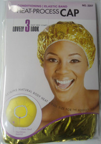 Magic X-Large Hair Conditioning Heat-Process Cap with Elastic Band- Gold Color