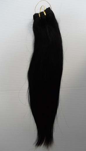 "16"" Brazilian Human Hair Extension Weft, 100g,  Natural Black - Straight"
