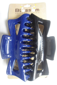 Large Hair Butterfly Claw [Jaw] Clips , Color Blue/Black 2-Pack