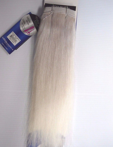 "Foxy Silver 14"" Salt n' Pepper Human Hair Straight Weave Track Platinum Grey [White Grey]"