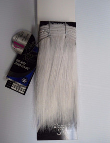 "Foxy Silver 8"" Salt n' Pepper Human Hair Straight Weave Track Platinum Grey [White Grey]"