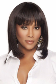 Vivica A Fox Human Hair Layered Straight w/ Center Skin Part Full Wig H202-V
