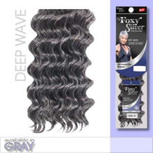 "10"" Salt n' Pepper Human Hair Deep Wave Weave Track Grey Color 51"