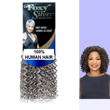 "10"" Salt n' Pepper Human Hair Jerry Curl Weave Track Grey Color 51"