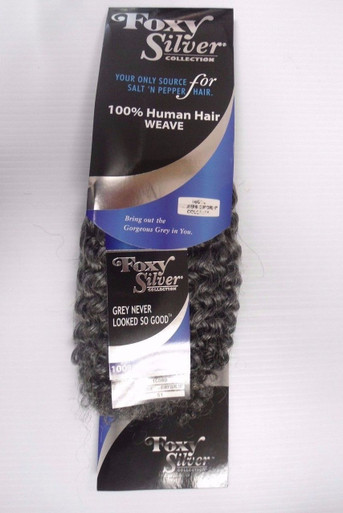 "12"" Salt n' Pepper Human Hair Jerry Curl Weave Track Grey Color 51"