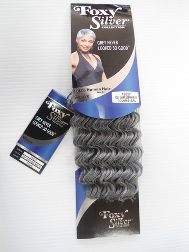 "10"" Salt n' Pepper Human Hair Blend Deep Wave Weave Track Grey Color 51"