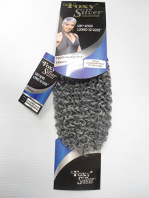 "12"" Salt n' Pepper Human Hair Blend Jerry Curl Weave Track Grey Color 51"