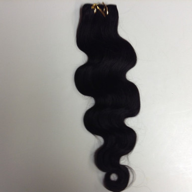 "10"" Brazilian Human Hair Extension Weft, 100g, Natural Black - Wavy"