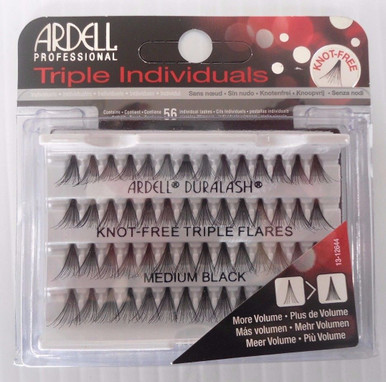 Ardell Eyelash Knot Free Triple Flares Individual Medium Black (pack of 4)