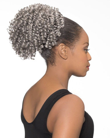 Foxy Silver Synthetic Hair Clip on Ponytail Short Spiral DS Hairpiece DS08