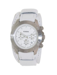 Fossil Women's CH2858 Retro Traveler Chronograph White Leather Strap Watch