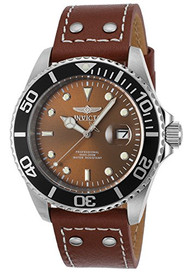 Invicta Men's 'Pro Diver' Quartz Stainless Steel and Leather Automatic Watch, Color:Brown (Model: 22070)