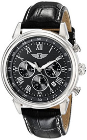 I By Invicta Men's 90242-001 Chronograph Black Dial Black Leather Dress Watch...