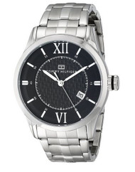 Tommy Hilfiger Men's 1710210 Classic Silver-Tone Black Dial Watch
