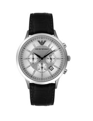 Emporio Armani Men's AR2432 Chronograph Stainless Steel and Black Leather Watch