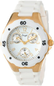 Invicta Women's 0718 Angel Collection Gold-Plated White Polyurethane Watch In...