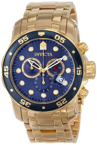 Invicta Men's 0073 Pro Diver Collection Chronograph 18k Gold-Plated Watch Inv...