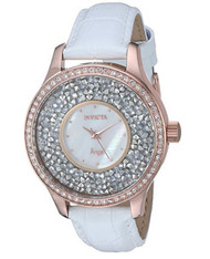 Invicta Women's 'Angel' Quartz Stainless Steel and Leather Casual Watch, Color:White (Model: 24588) …