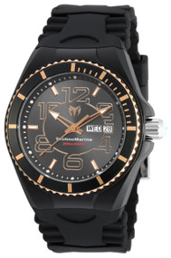 TechnoMarine Men's Cruise Black Silicone Band Steel Case Quartz Analog Watch TM-115147