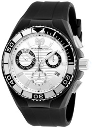 TechnoMarine Men's Black Silicone Band Steel Case Quartz Silver-Tone Dial Watch TM-115164