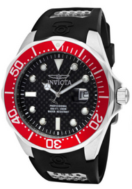 Invicta Men's 12561 Pro Diver Quartz 3 Hand Black Dial Watch