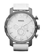 Fossil Nate Chronograph Leather Watch - White Jr1423