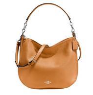 COACH Women's Polished Pebbled Leather Chelsea 32 Hobo Sv/Light Saddle Handbag 58036-SV/QD