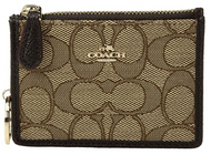 COACH Women's Box Program Signature Jacquard Mini ID Skinny Li/Khaki/Brown One Size 14471B-LIC7C