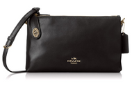 Coach Women's Crosby Smooth Calf Leather Cross Body, Light Gold/Black, One Size 36552-LIBLK