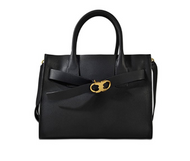 Tory Burch Gemini Link Belted Leather Tote (Black)
