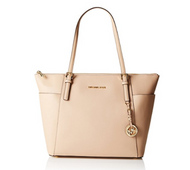 Michael Kors Jet Set Travel Leather Large EW Top Zip Tote in Oyster