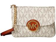 Michael Kors Fulton Logo Crossbody Vanilla Flap Gusset Purse Hand Bag
