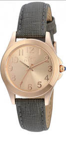 Invicta Angel Quartz Watch - Rose Gold case w/Grey tone Leather band Watch 21585