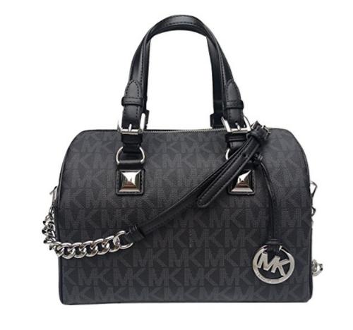 c7e3d0d9c410 ... real michael kors grayson medium chain signature satchel black with  silver hardware 35f7sgys2b 001. image