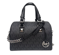 Michael Kors Grayson Medium Chain Signature Satchel (Black with Silver Hardware) 35F7SGYS2B-001