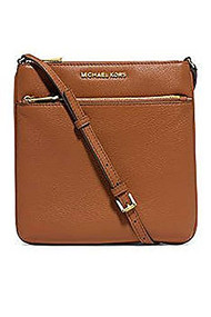 Michael Kors Riley Leather Flat Crossbody Brown