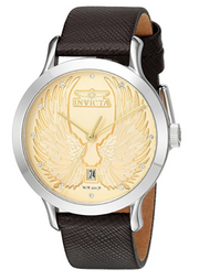Invicta Women's 'Angel' Quartz Stainless Steel and Leather Casual Watch, Color:Brown (Model: 23184)