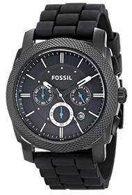 Fossil Men's FS4487 Machine Chronograph Silicone Watch - Black