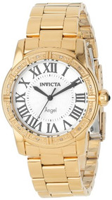 Invicta Women's 14374 Angel Silver Dial Diamond-Accented 18k Gold Ion-Plated ...