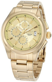 Invicta Men's 1484 Specialty Collection Chronograph Gold Dial 18k Gold Ion-Pl...
