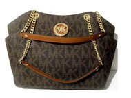 Michael Kors Brown PVC Jet Set Travel Large Chain Shoulder Tote Bag 35F8GTVE7B-847