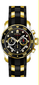 Invicta Men's 21928 Pro Diver Collection Chronograph Black Dial Black Polyurethane Watch