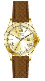 Invicta Angel Gold Dial Brown Leather Ladies Watch 14842 [Watch] Invicta