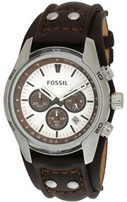 Fossil Men's Cuff CH2565 Silver Leather Quartz Watch [Watch] Fossil